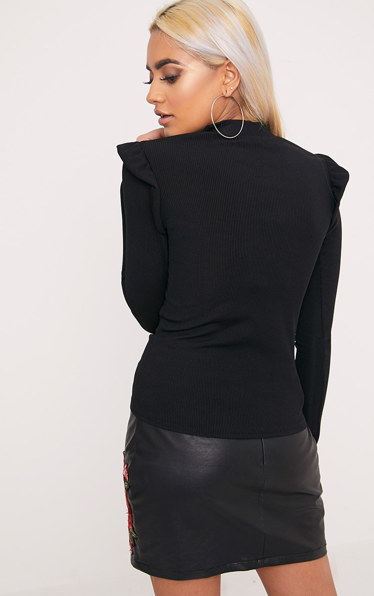 Zooey Black Frill Long Sleeve Top 2