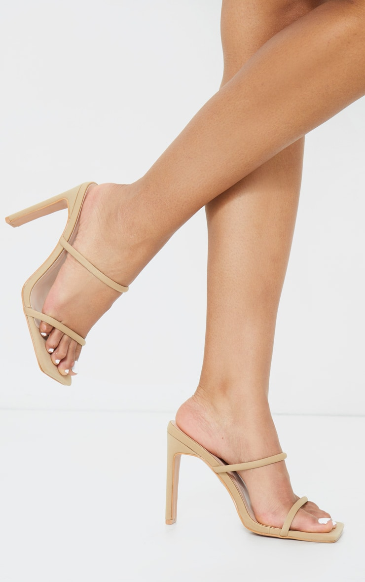 Nude Lycra Extreme Square Toe Twin Strap Mule High Heels 2