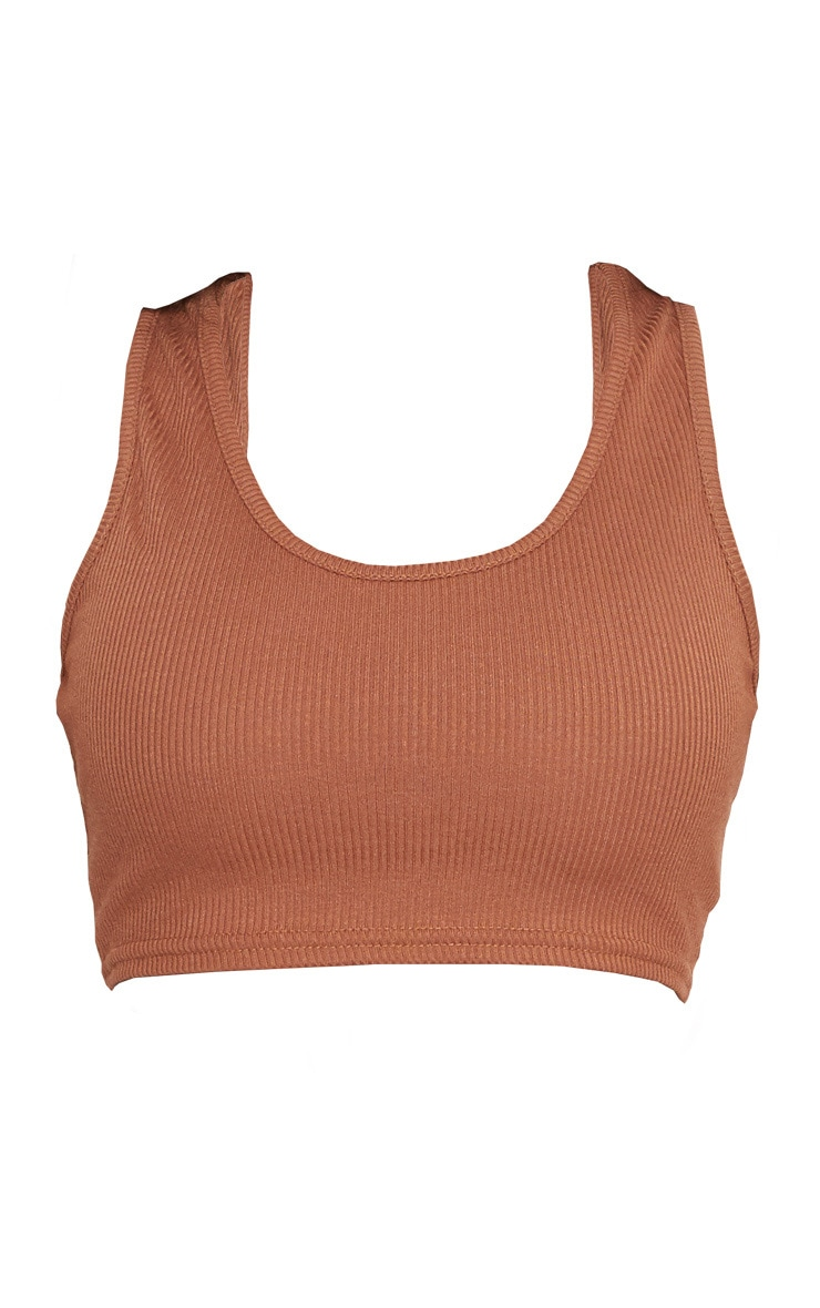 Shape Brown Ribbed Sleeveless Crop Top 3