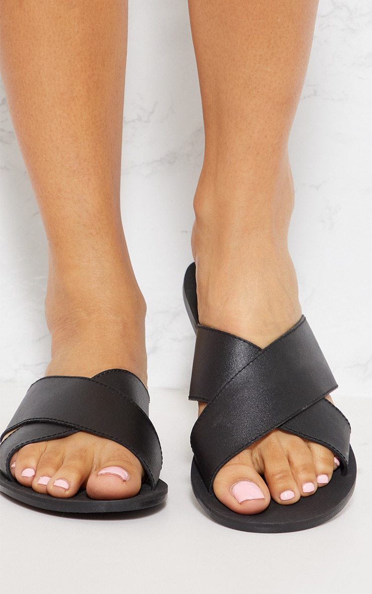 Black Leather Cross Strap Sandal 4