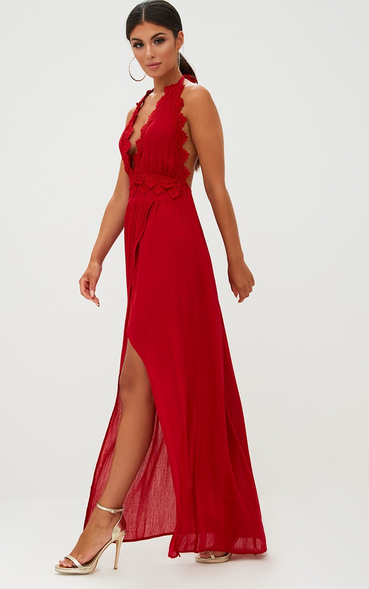 Red Cheesecloth Crochet Trim Maxi Dress 4