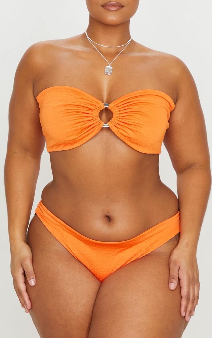 Plus Orange Crinkle Ring Detail Bikini Bottoms 1