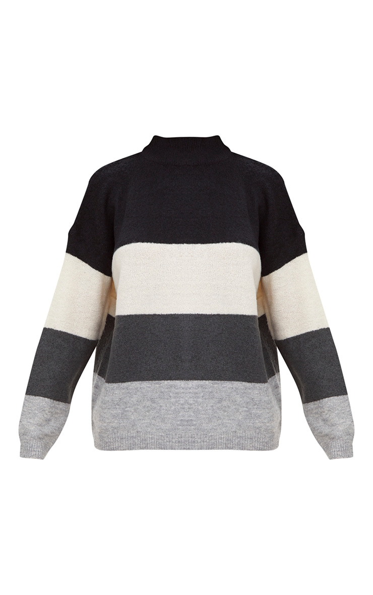 Black Funnel Neck Stripe Jumper 3