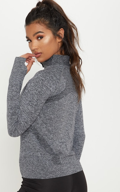 Charcoal Seamless Knit Zip Up Gym Top