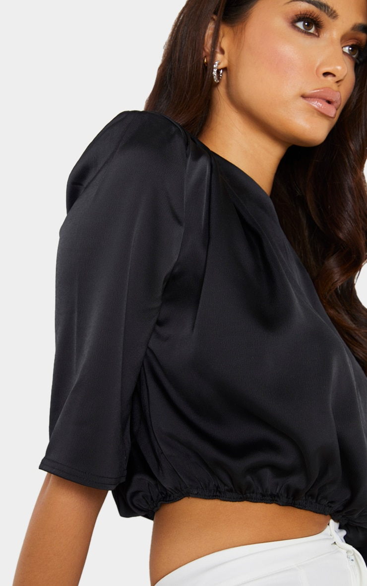 Black Satin Shoulder Pad Draped Sleeve Cropped Blouse 4