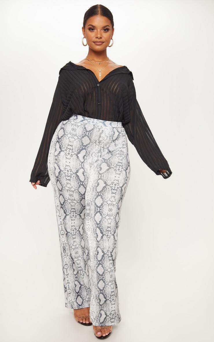 Plus Black Striped Chiffon Oversized Shirt 4