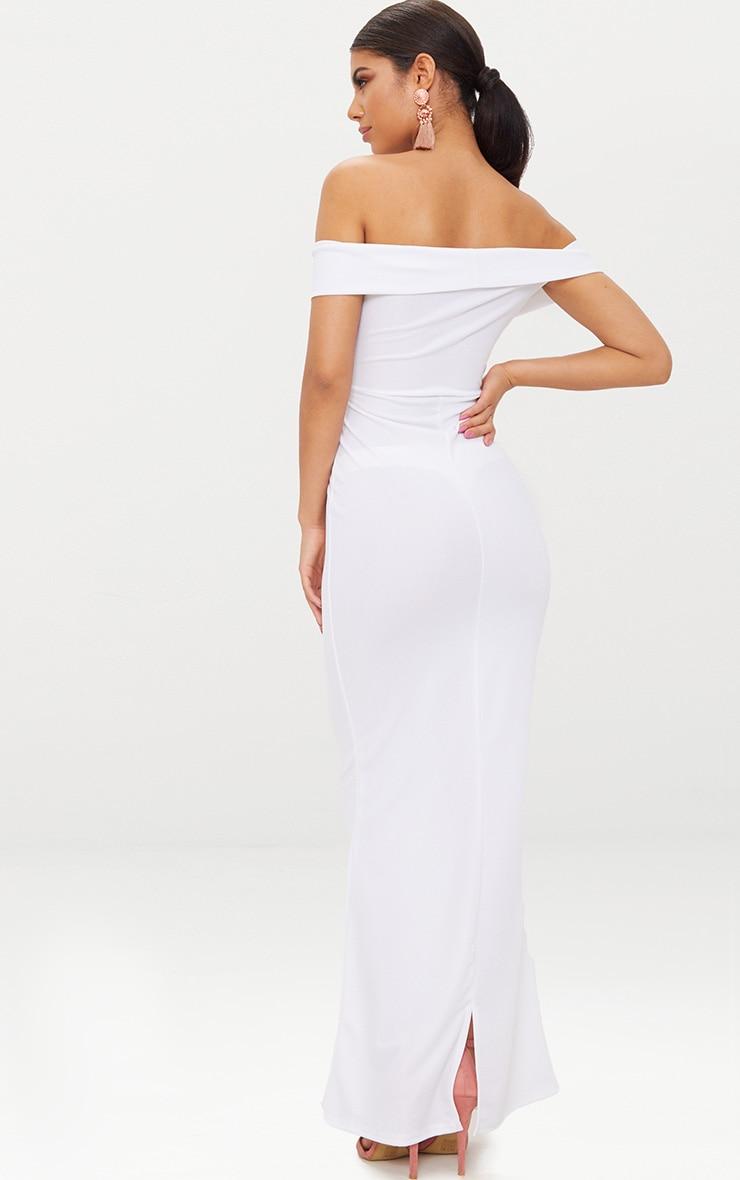 White Bardot V Plunge Maxi Dress 2