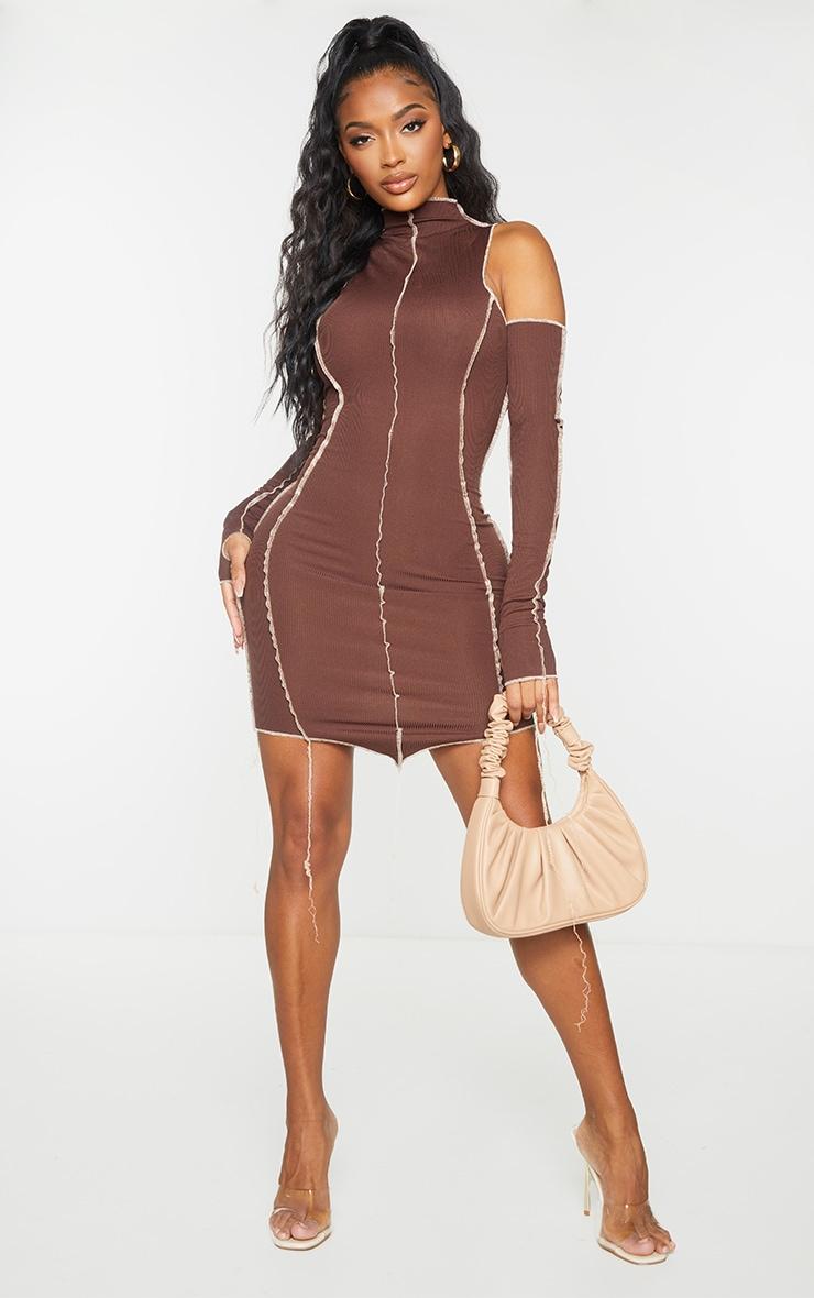 Shape Chocolate Brown Rib Overlock Seam Thumb Hole Bodycon Dress 3