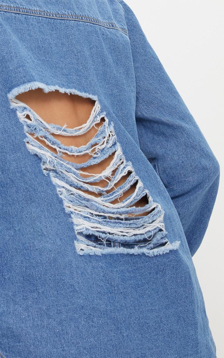 Mid Wash Extreme Distressed Back Denim Shirt 5