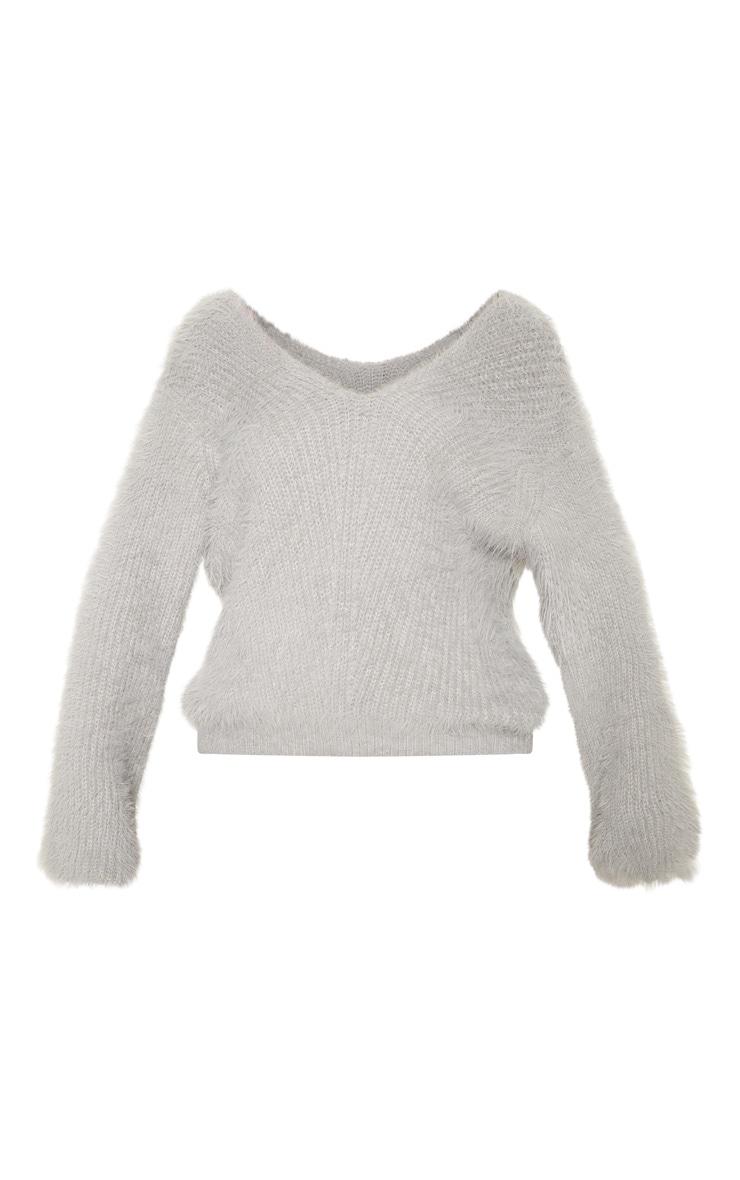 Grey Eyelash Knitted Sweater 3