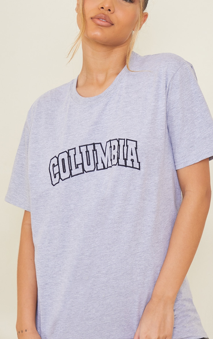 Grey Colombia Slogan Embroidered T Shirt 4