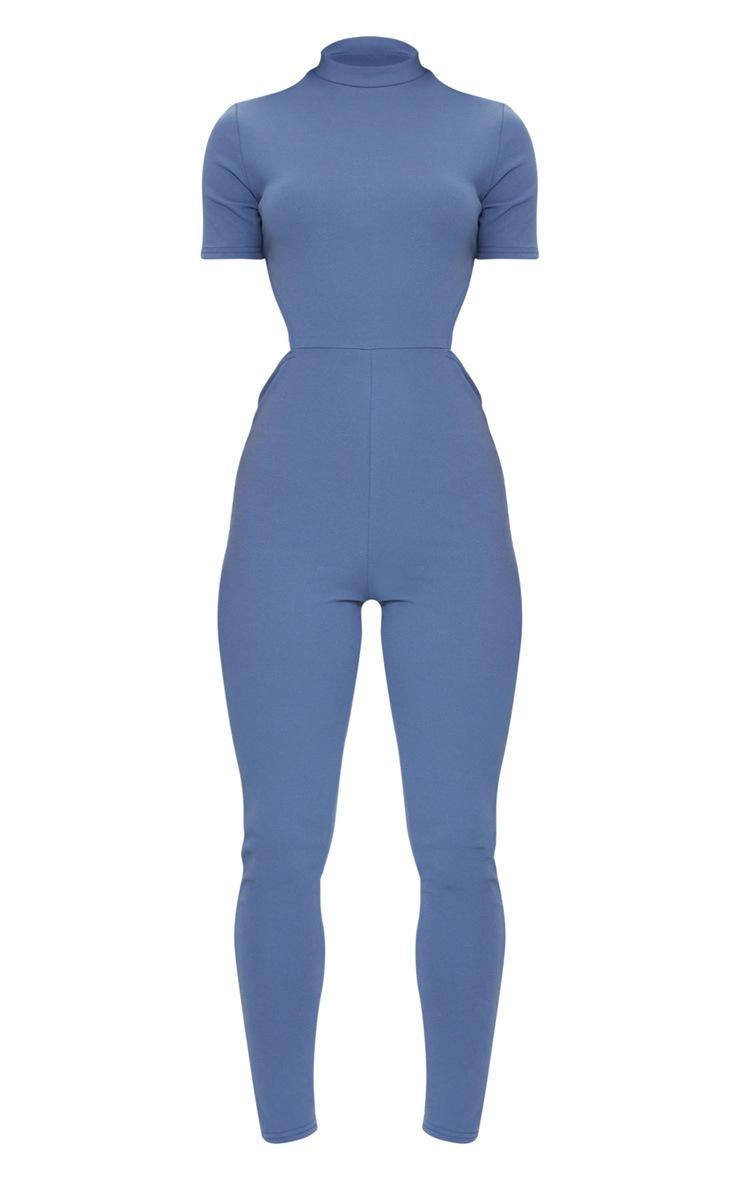 Petrol Blue High Neck Tie Back Jumpsuit 5