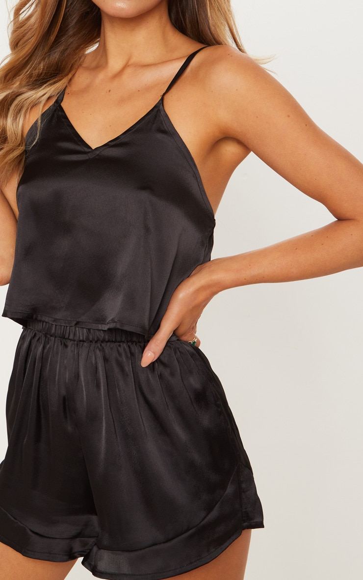 Black Satin Frill Short Pyjama Set 5