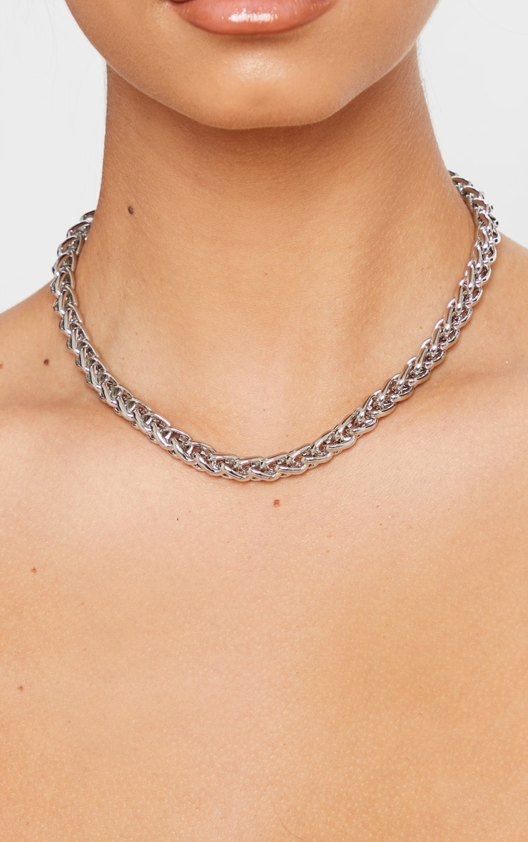 Silver Chunky Rope Chain Necklace 2
