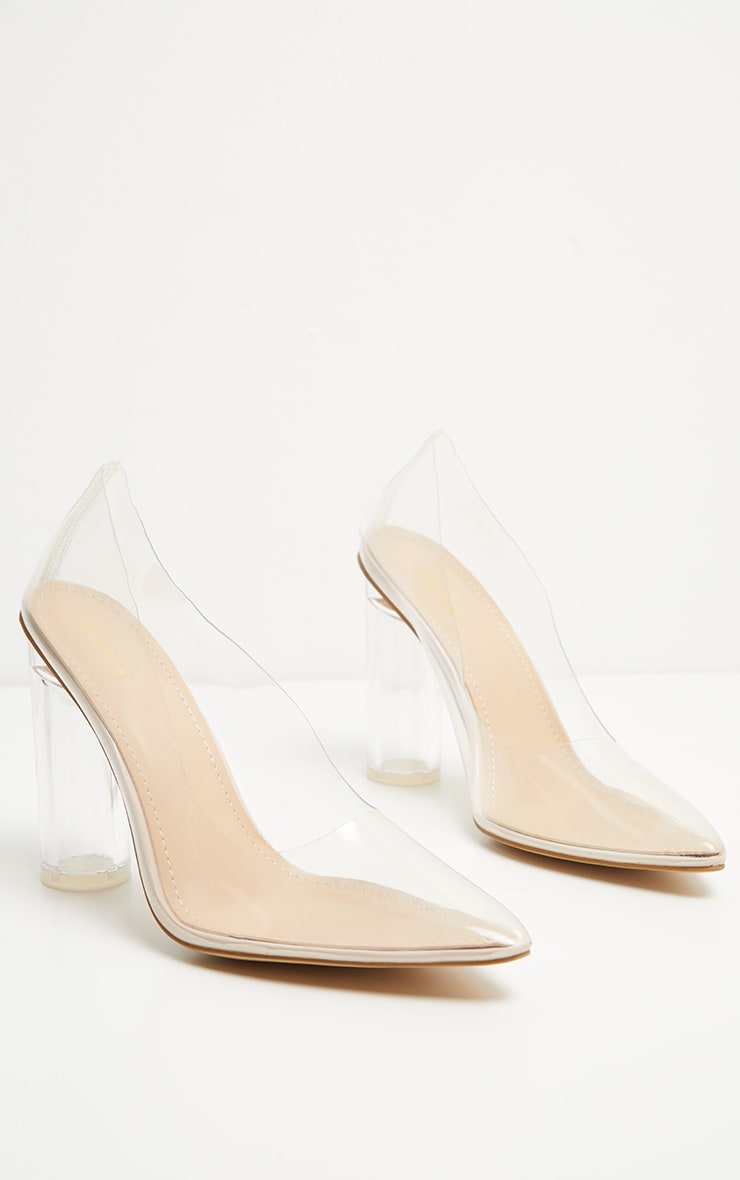 Nude Block Heel Clear Court  3