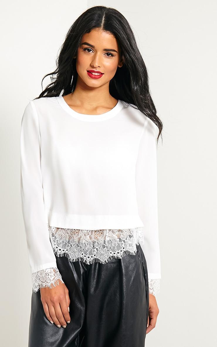 Katty White Lace Hem Wrap Back Top 4