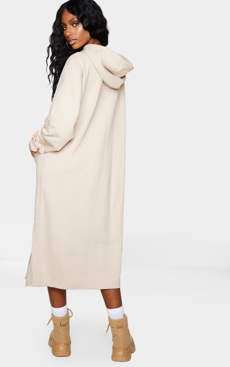Stone Pocket Detail Hooded Midi Sweat Jumper Dress 2