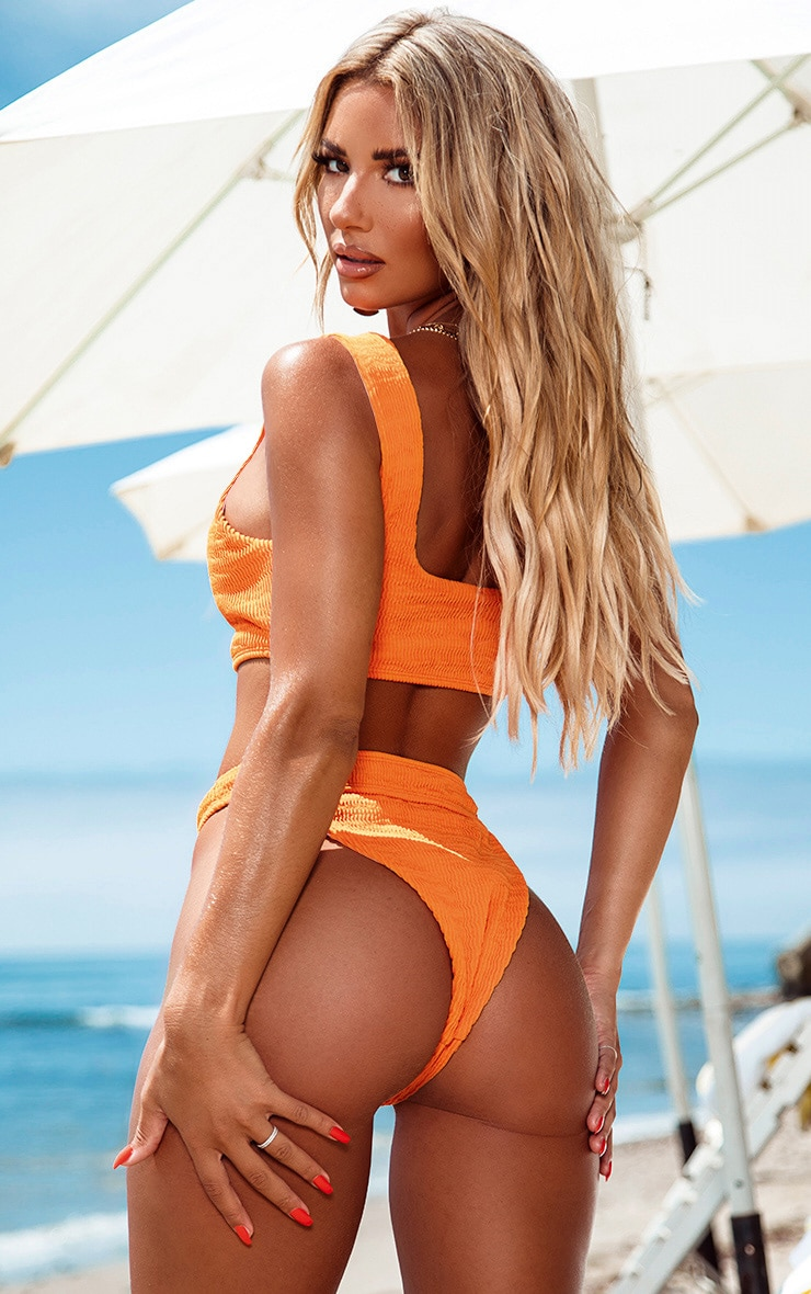Orange Crinkle Button Down Bikini Bottom 4