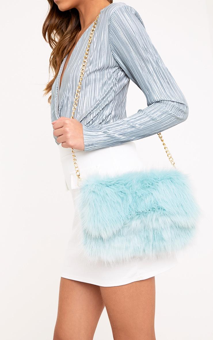 Kylah Ice Blue Faux Fur Clutch Bag 1