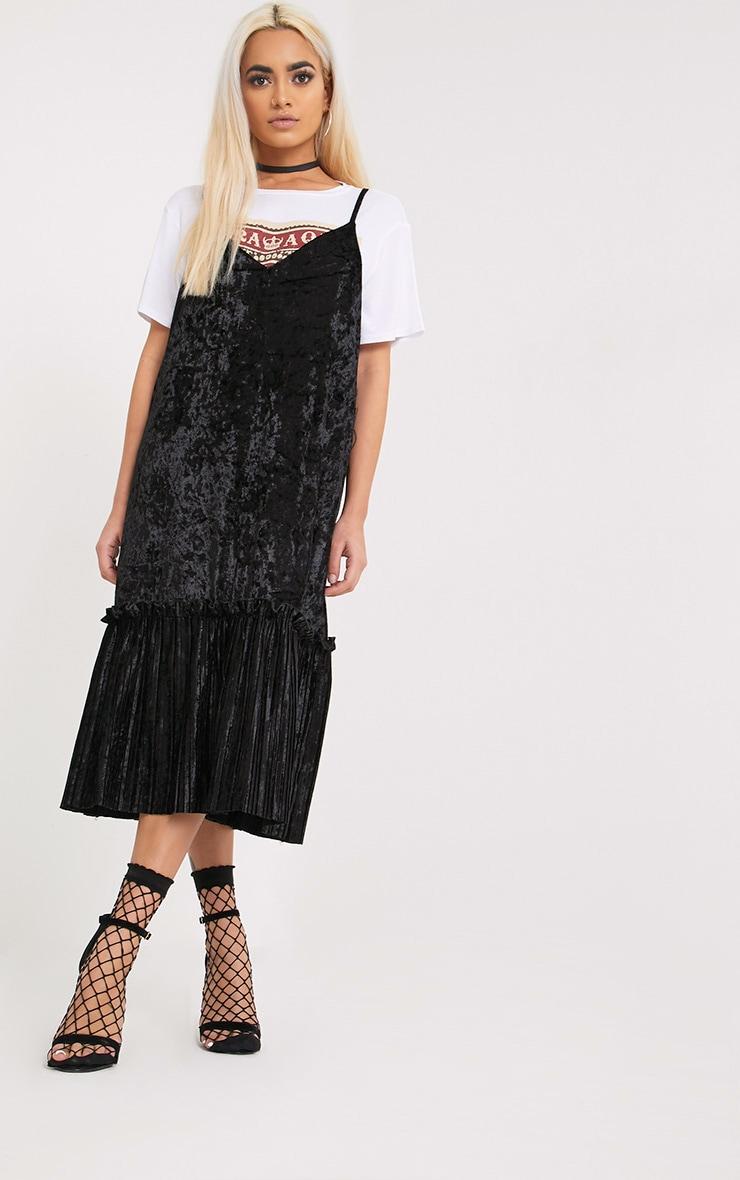 Domanica Black Velvet Frill Hem Midi Dress 4