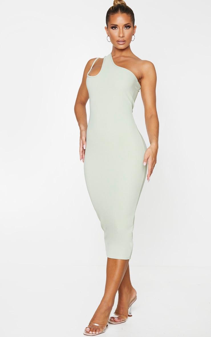 Sage Green Bandage Rib Asymmetric One Shoulder Midi Dress 3