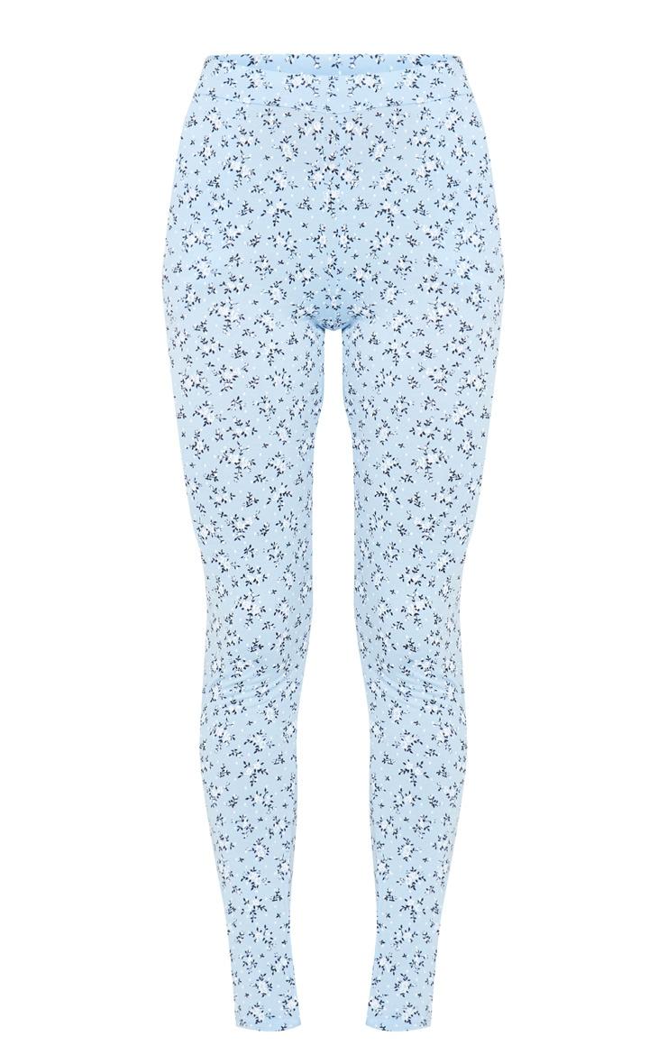 Blue Floral Printed Skinny Pants 5
