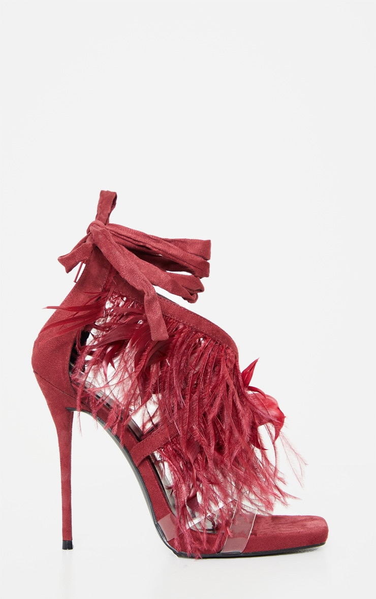 Burgundy Square Toe Asymmetric Strap Feather Sandal 3