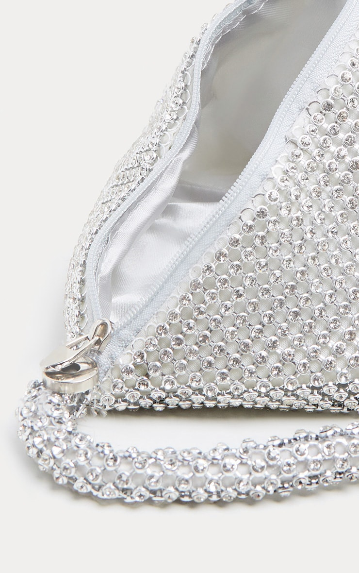 Silver Diamante Chainmail Pouch 5