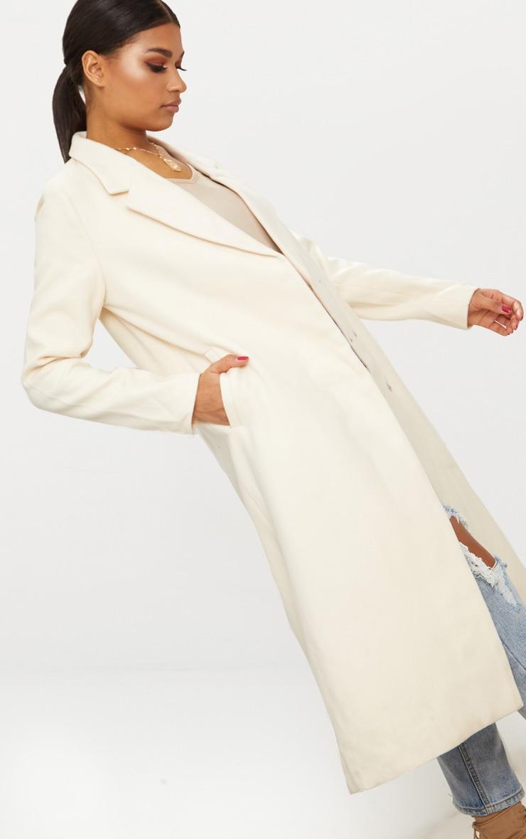Cream Double Breasted Longline Coat 5