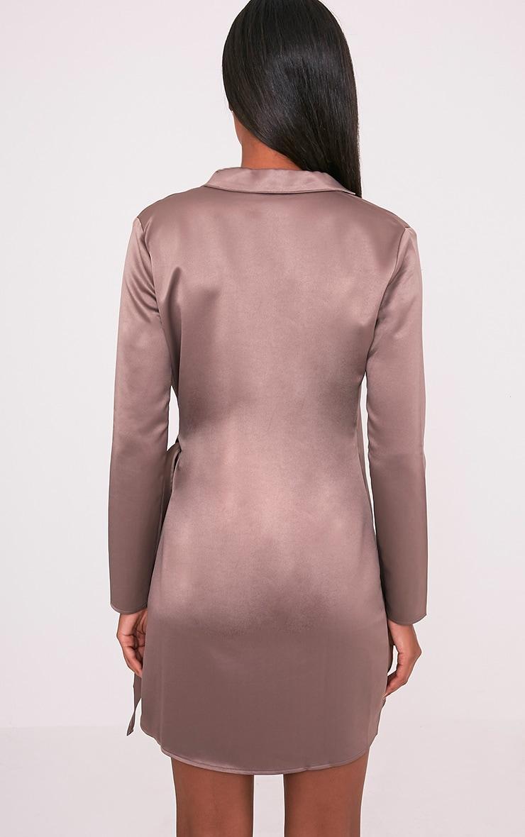 Shaylene Mocha Tie Side Satin Shirt Dress 2