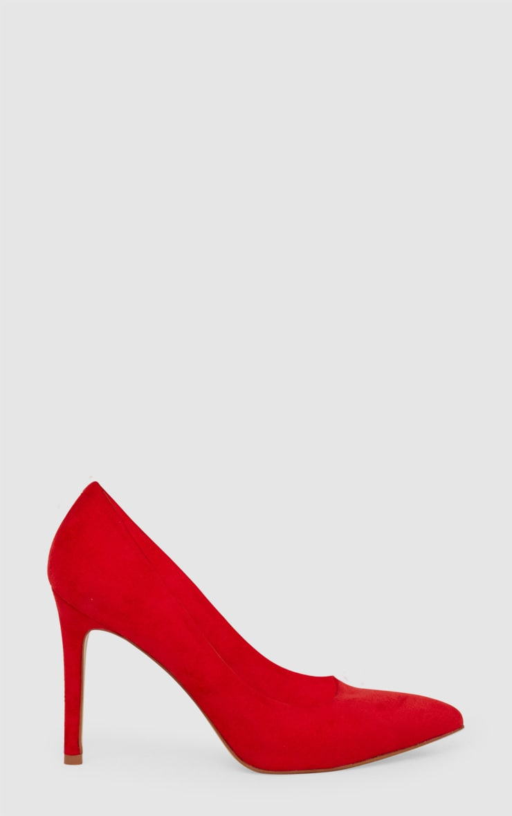 Red Faux Suede Pointed Heeled Court Shoe 3
