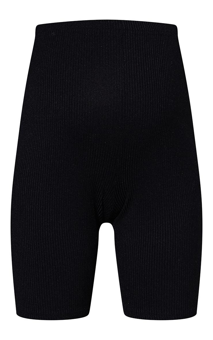 RENEW Maternity Black Ribbed Bike Shorts 6