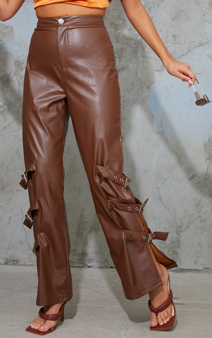 Chocolate Faux Leather Buckle Strap Detail Trousers 2