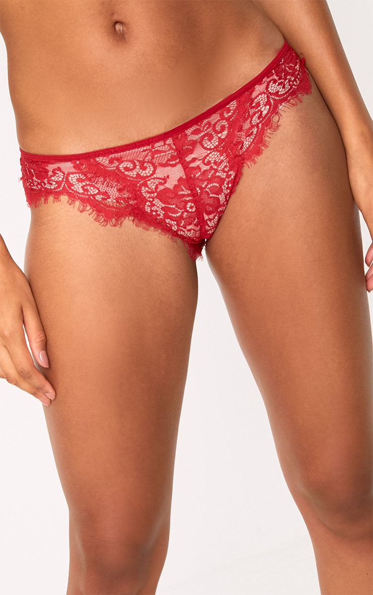 Wendy Red Sheer Lace Brazilian  6