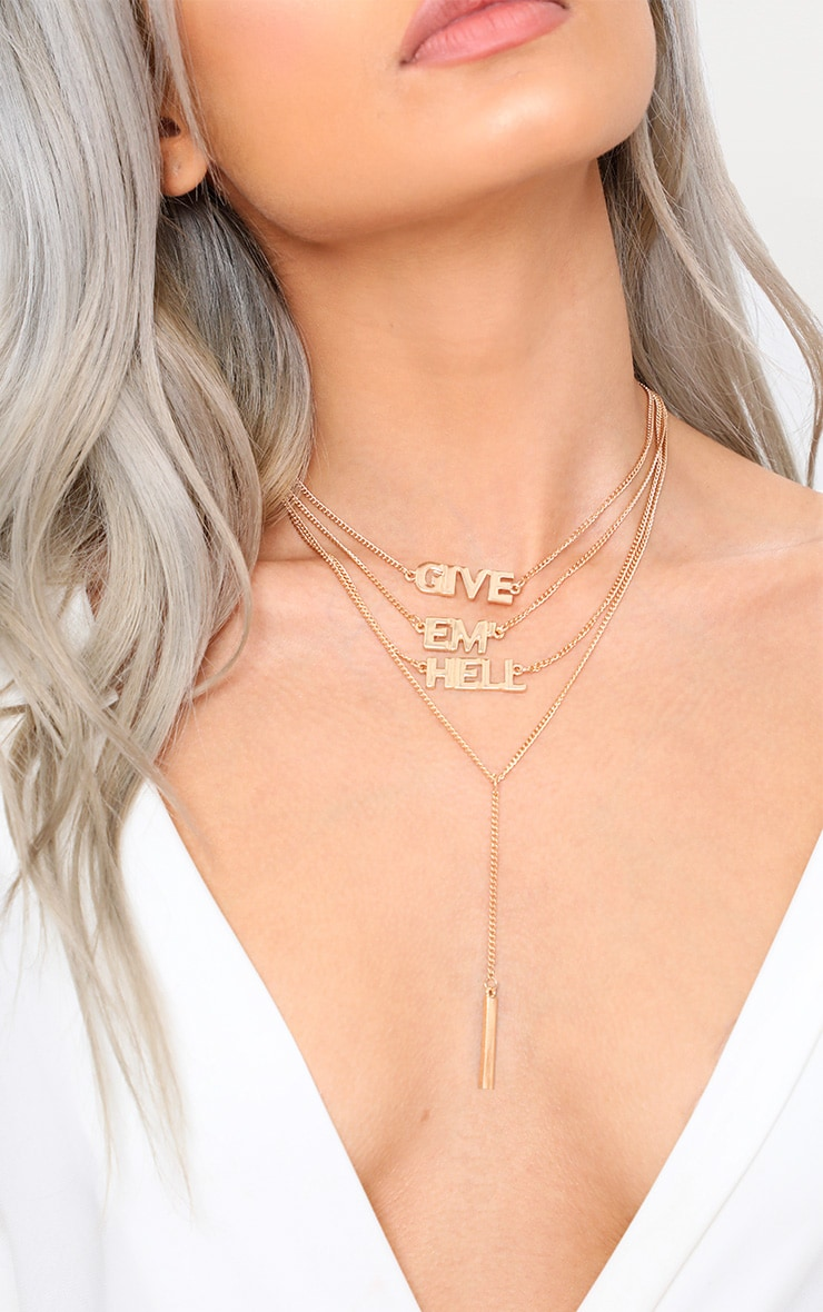 Gold Layered Give Em Hell Slogan Necklace 2
