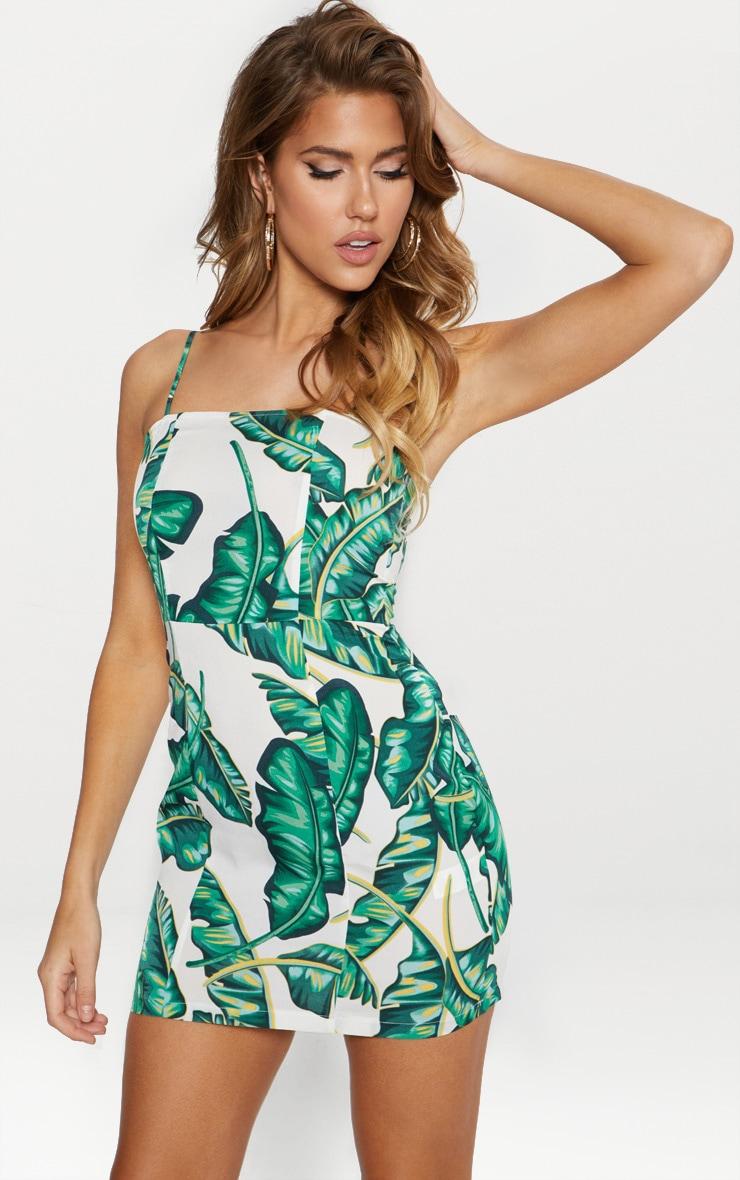 Green Palm Print Lace Trim Strappy Slip Dress 1