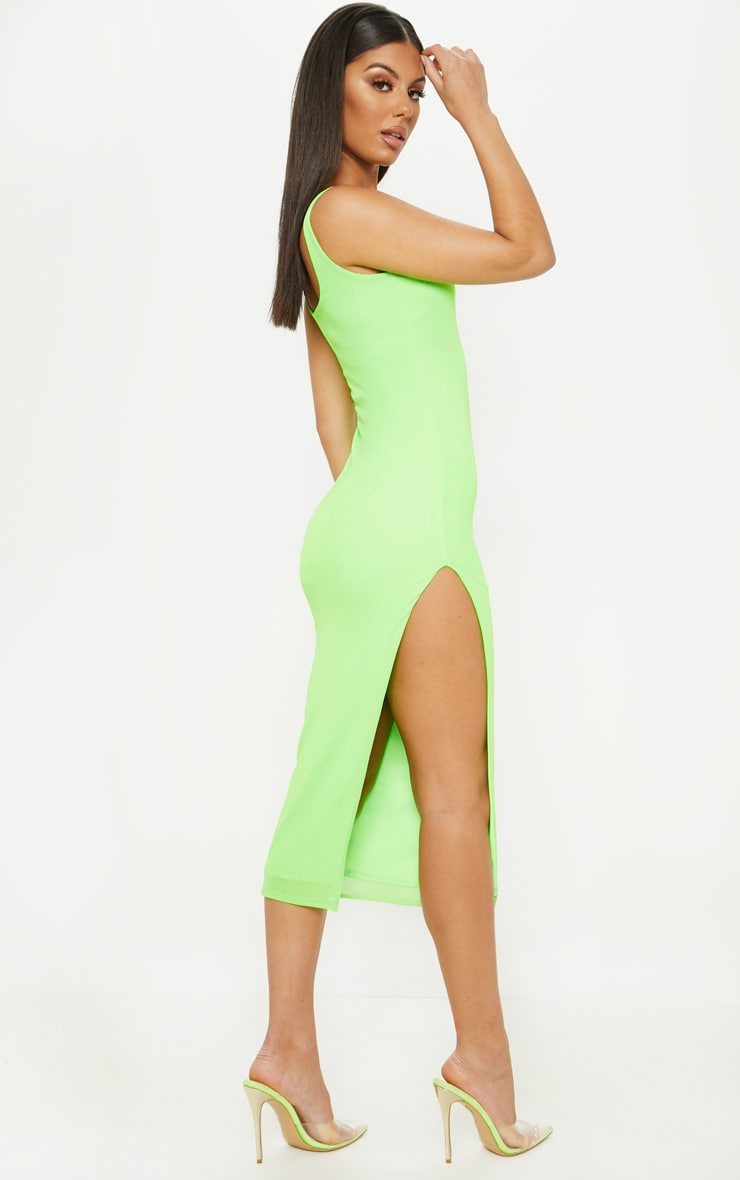 Neon Lime Mesh Split Leg Midi Dress 2