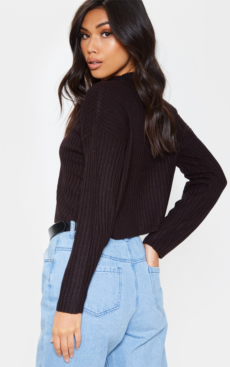 Black Cropped Ribbed Knitted Jumper 2