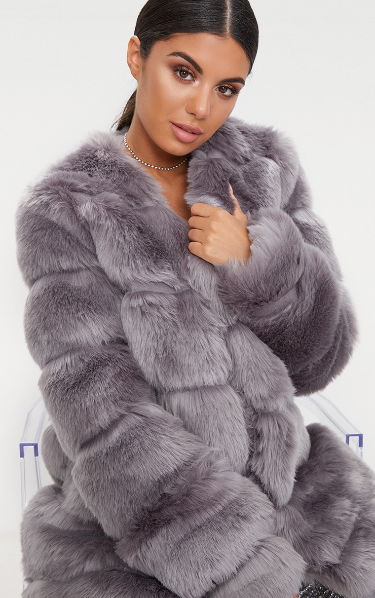 Grey Faux Fur Bubble Coat 5