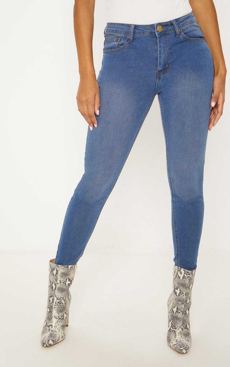 Mid Wash Slim Leg Jeans 2