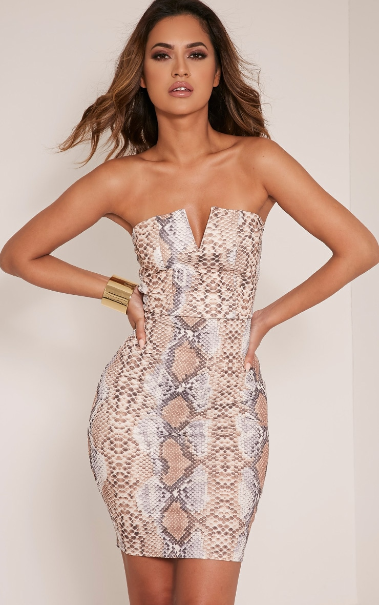Michelle Taupe Snake Print Bandeau Dress 1