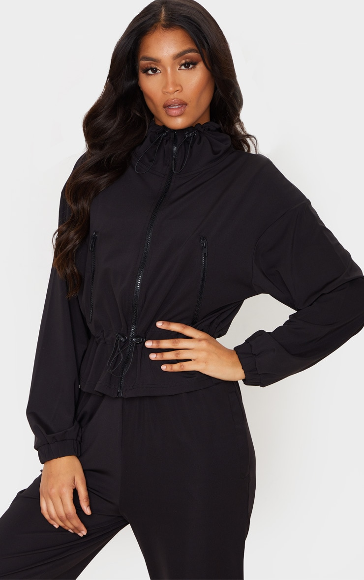 Black Soft Touch Funnel Neck Toggle Zip Front Sweater 1