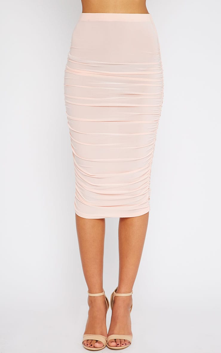 Saylor Pink Slinky Gathered Midi Skirt 2