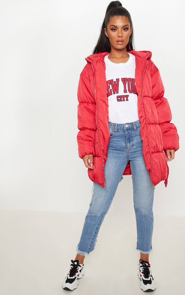 Red Belted Puffer Jacket 4