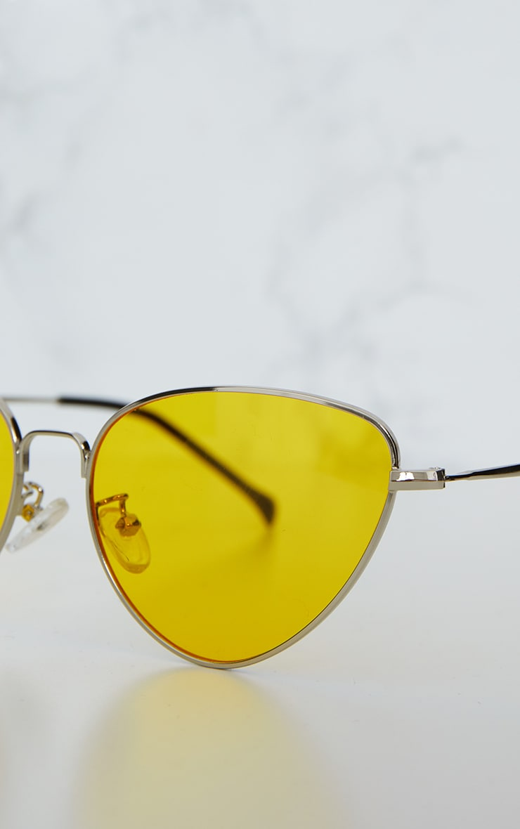 Yellow Cat Eye Lens Retro Sunglasses 5