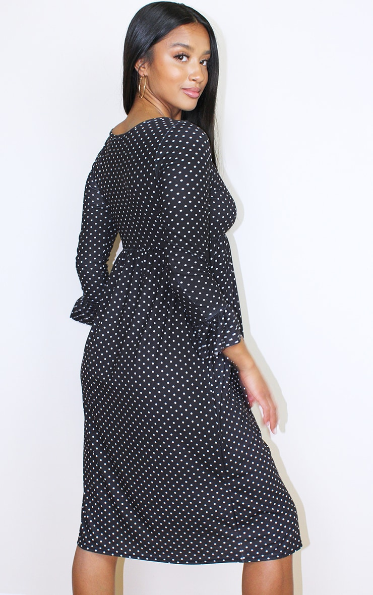 Petite Black Long Sleeve Polka Dot Midi Smock Dress 2