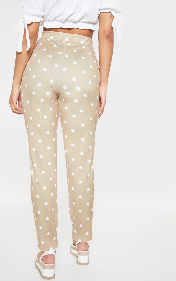 Taupe Polka Dot Print Tie Waist Cigarette Trouser 4