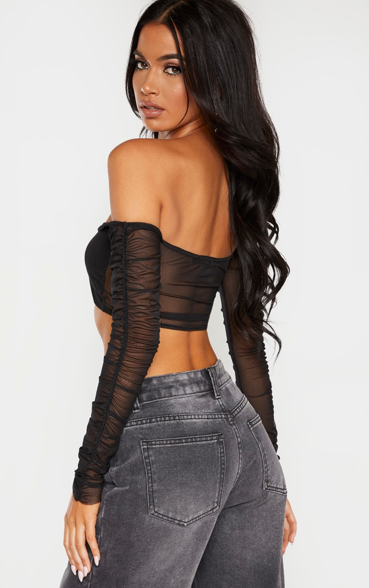 Black Mesh Ruched Sleeve Crop Top  2