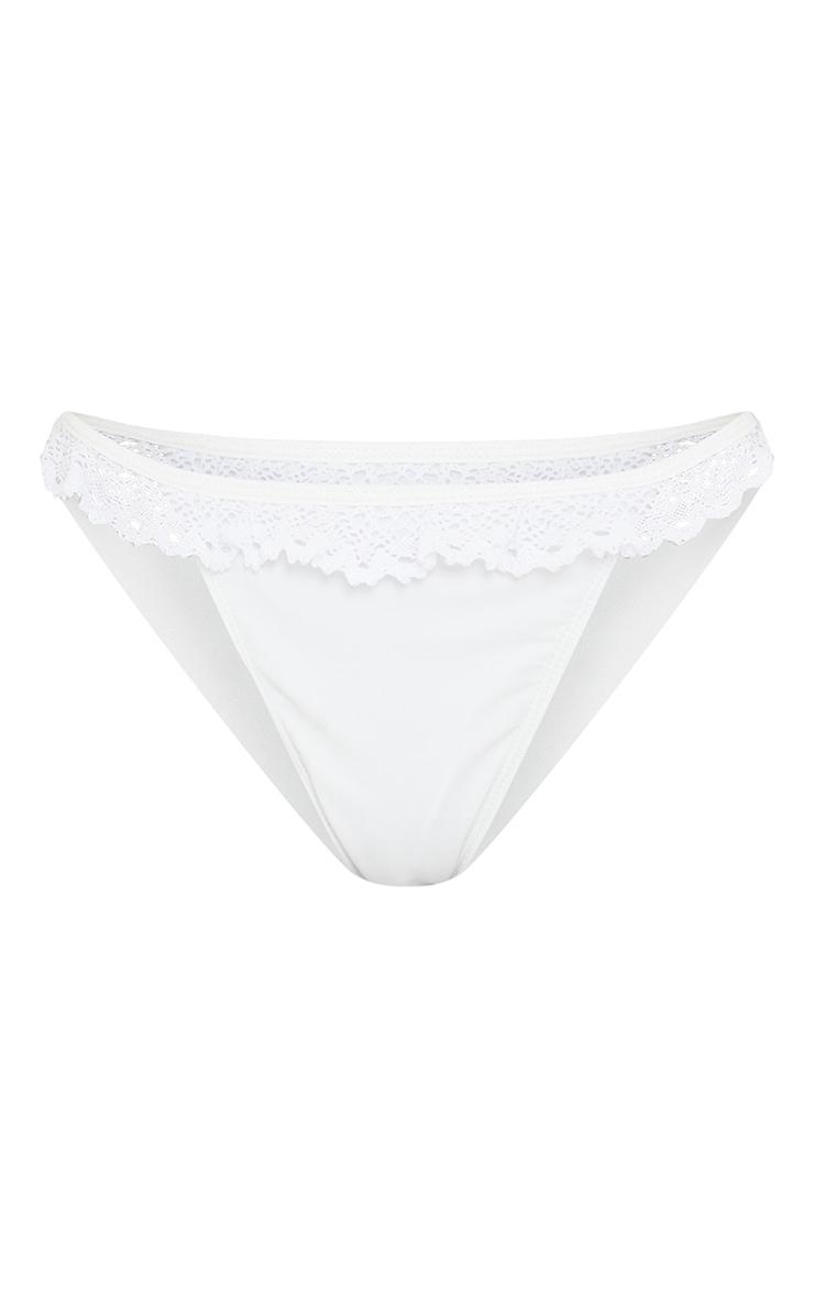 Petite White Broderie Anglaise Ruffle Tanga Bikini Bottoms 5