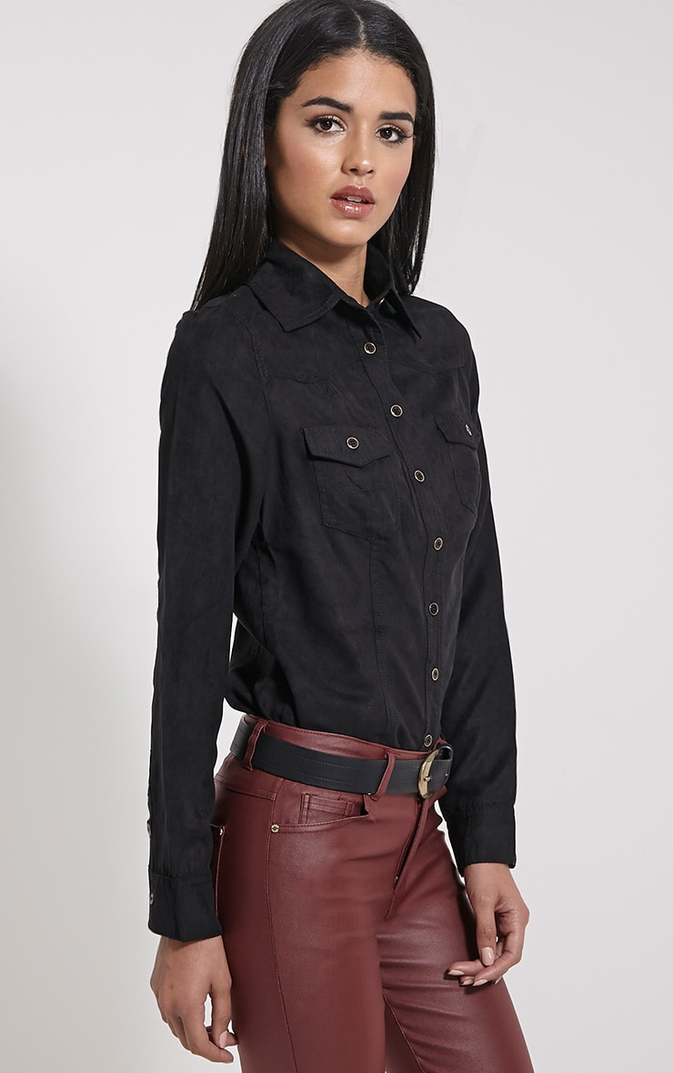 Asha Black Suede Fitted Shirt 4